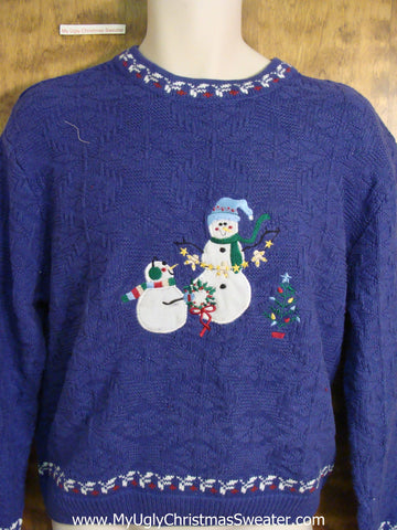 Bright Blue Snowman Friends Novelty Funny Christmas Sweater