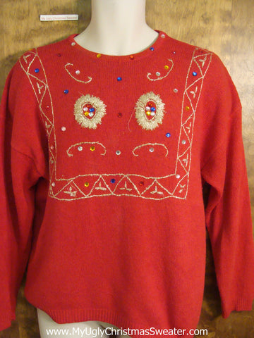 Holiday Bling Red Novelty Funny Christmas Sweater