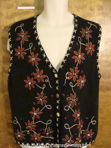 Cheap Novelty Funny Christmas Sweater Vest with Poinsettias