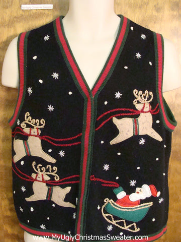 Santa and Reindeer Novelty Funny Christmas Sweater Vest