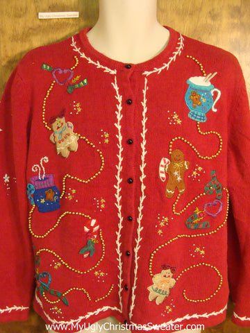 NOEL Gingerbread Theme Novelty Funny Christmas Sweater