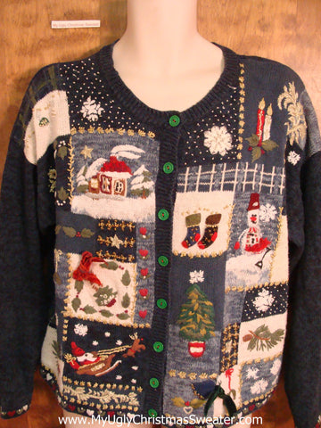 Busy 80s Novelty Funny Christmas Sweater