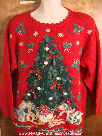 Novelty 80s Red Horrible Funny Christmas Sweater