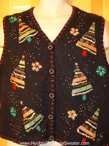 Tacky Ugly Christmas Sweater Vest with Sequin Bling Trees 2sided (f404)