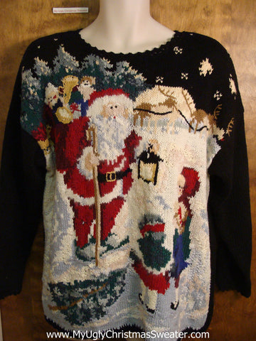 Santa with Some Children 80s Novelty Funny Christmas Sweater