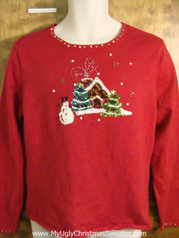 Cute Red Novelty Funny Christmas Pullover with Snowman