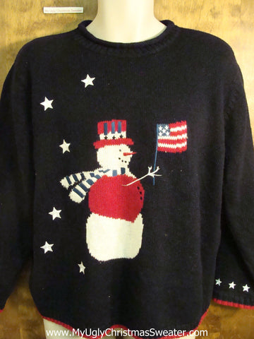 Patriotic Snowman Novelty Funny Christmas Sweater