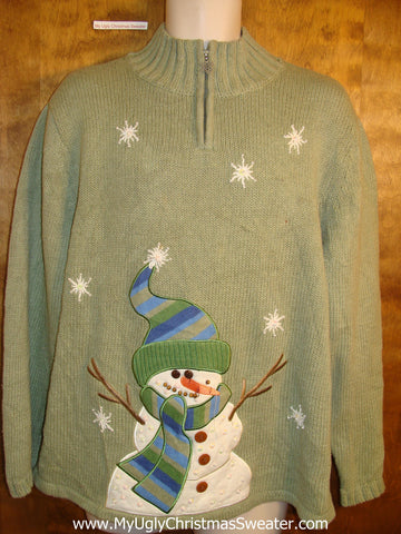 Novelty Green Funny Christmas Sweater with Stick Arm Snowman