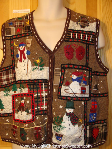 Tacky Ugly Christmas Sweater Vest Crafty Plaids and Stitching with Snowmen (f405)