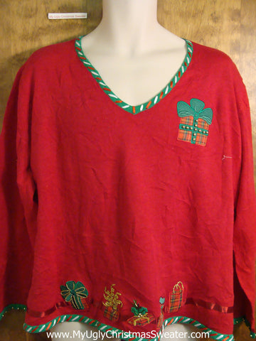 Novelty Red Gift Themed Funny Christmas Sweater