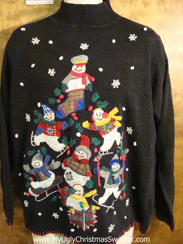 Winter Sports Snowmen Novelty Funny Christmas Sweater