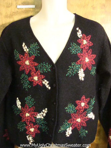 Bling Poinsettias Novelty Funny Holiday Sweater