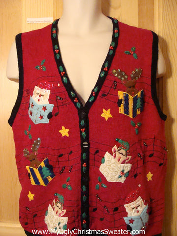 Tacky Ugly Christmas Sweater Vest 2sided Santa & Elves & Reindeer Carolling  (f406)