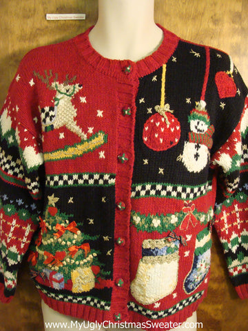Busy 80s Style Novelty Funny Holiday Sweater