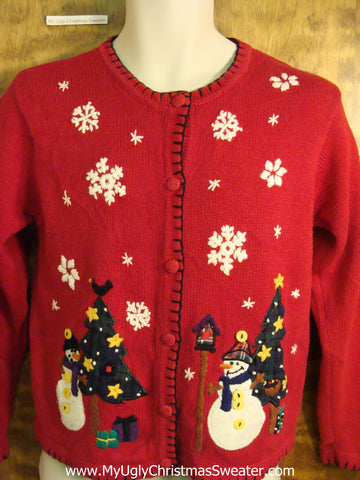 Snowman Friends Red Novelty Funny Holiday Sweater