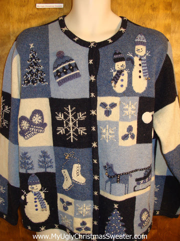 Blue Blocks of Winter Fun Novelty Funny Holiday Sweater
