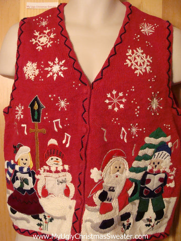 Tacky Ugly Christmas Sweater Vest Festive Santa and Snowman and Children in a Winter Wonderland  (f407)