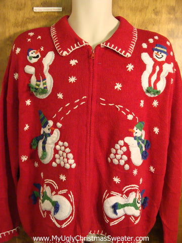 Snowman Snowball Party 80s Novelty Funny Holiday Sweater