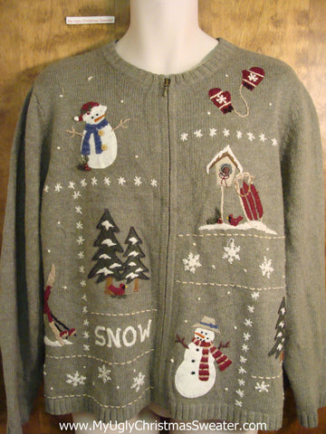 Festive SNOW Novelty Funny Holiday Sweater