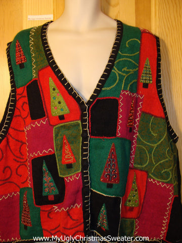 Tacky Ugly Christmas Sweater Vest Size XXXL Geometric Trees  (f408)
