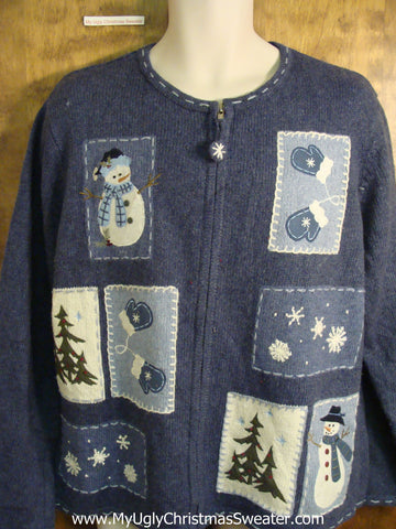 Blue Novelty Funny Holiday Sweater with Patchwork Snowmen