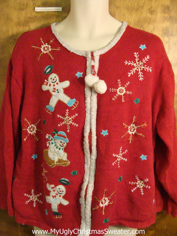 Cute Leaping Snowmen Novelty Funny Holiday Sweater