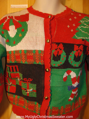 Tacky Ugly Christmas Sweater 2sided 80s Festive Gem (very small adult or Child Size) (f409)