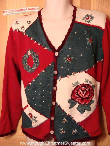 Tacky Ugly Christmas Sweater with Giant Red Rose and Poinsettias in a Horrid Grid Pattern (f40)