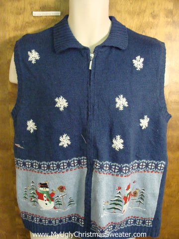 Blue Tacky Bad Christmas Sweater Vest with Snow