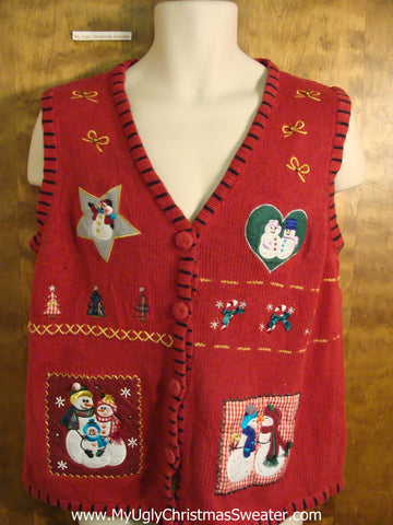 Snowman Love Tacky Bad Christmas Sweater Vest