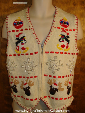 Best Cute Reindeer and Penguins Christmas Sweater Vest