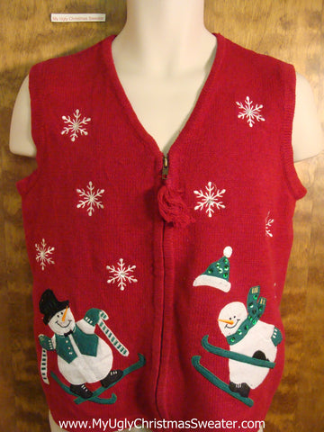 Skiing Snowmen Tacky Bad Christmas Sweater Vest