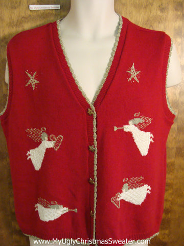 Flying Angels Tacky Bad Christmas Sweater Vest