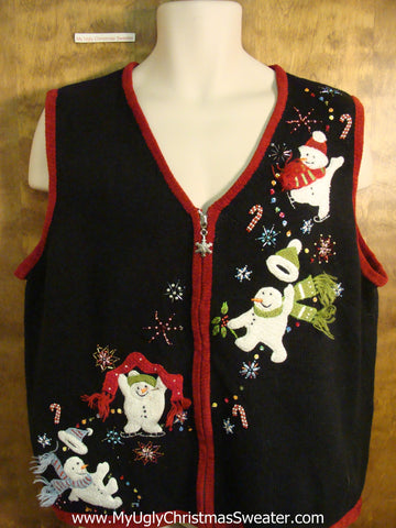 Flying Snowmen Tacky Bad Christmas Sweater Vest
