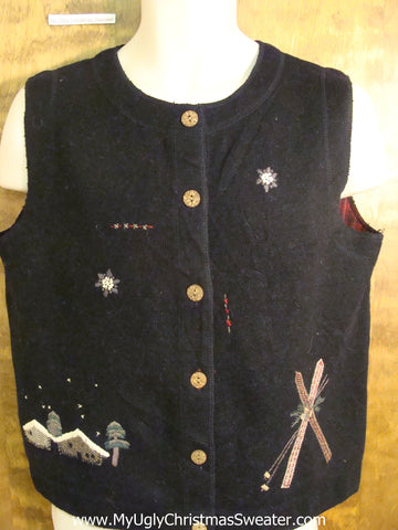 CHEAP Ski Themed Tacky Bad Christmas Sweater Vest