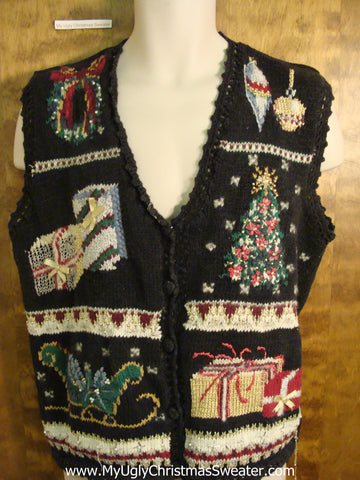 Ornate Decorations Tacky Bad Christmas Sweater Vest