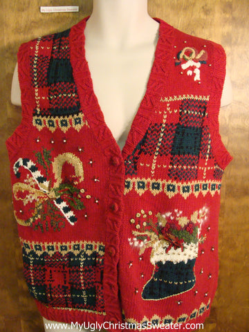 Red Plaid Themed Tacky Bad Christmas Sweater Vest