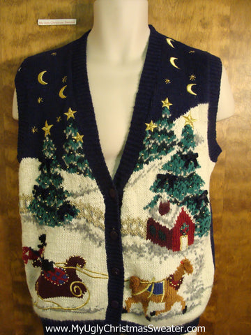 Horse and Sleigh Tacky Bad Christmas Sweater Vest
