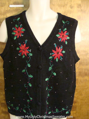 Cheap Poinsettia Themed Tacky Bad Christmas Sweater Vest