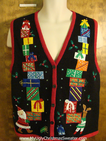 Stacks of Gifts 2sided Tacky Bad Christmas Sweater Vest