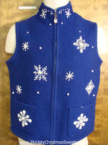 Bright Blue Snowflake Themed Tacky Bad Christmas Sweater Vest