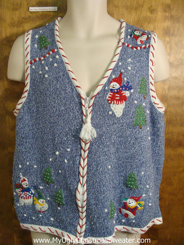 Candycane Trimmed Tacky Bad Christmas Sweater Vest