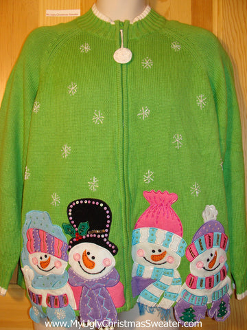 Tacky Green  Ugly Christmas Sweater with Happy Carrot Nosed Snowman with Bead Bling (f411)