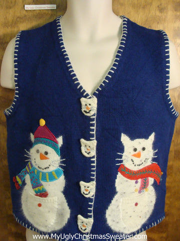 Cat Snowmen Funny Christmas Sweater Vest