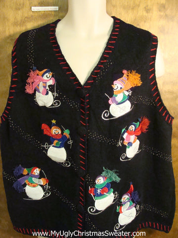 Snowmen Skiing Tacky Bad Christmas Sweater Vest