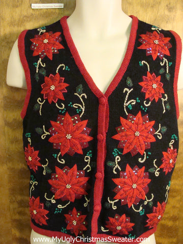 Horrible Poinsettias Tacky Bad Christmas Sweater Vest