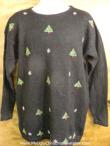 Tacky Cute Christmas Sweater with Festive Trees