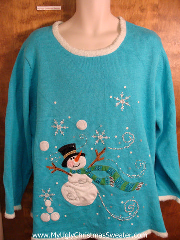 Bling Bright Blue Tacky Fun Christmas Sweater with Snowman