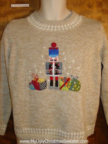 Colorful Nutcracker and Gifts Tacky Bad Christmas Sweater