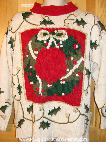 Tacky Ugly Christmas Sweater Vintage 80s Wreath & Ivy 2sided Design (f412)